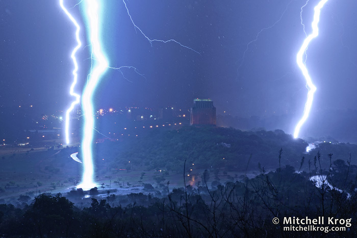 Monumental Chaos - Lightning Photograph over Voortrekker Monument South Africa