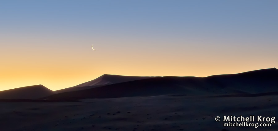 Fine Art Moonscapes Photo of Moonrise over Landscape and Dunes of Sossusvlei in Namibia