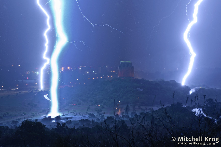 photo of lightning strikes over the voortrekker monument in South Africa.